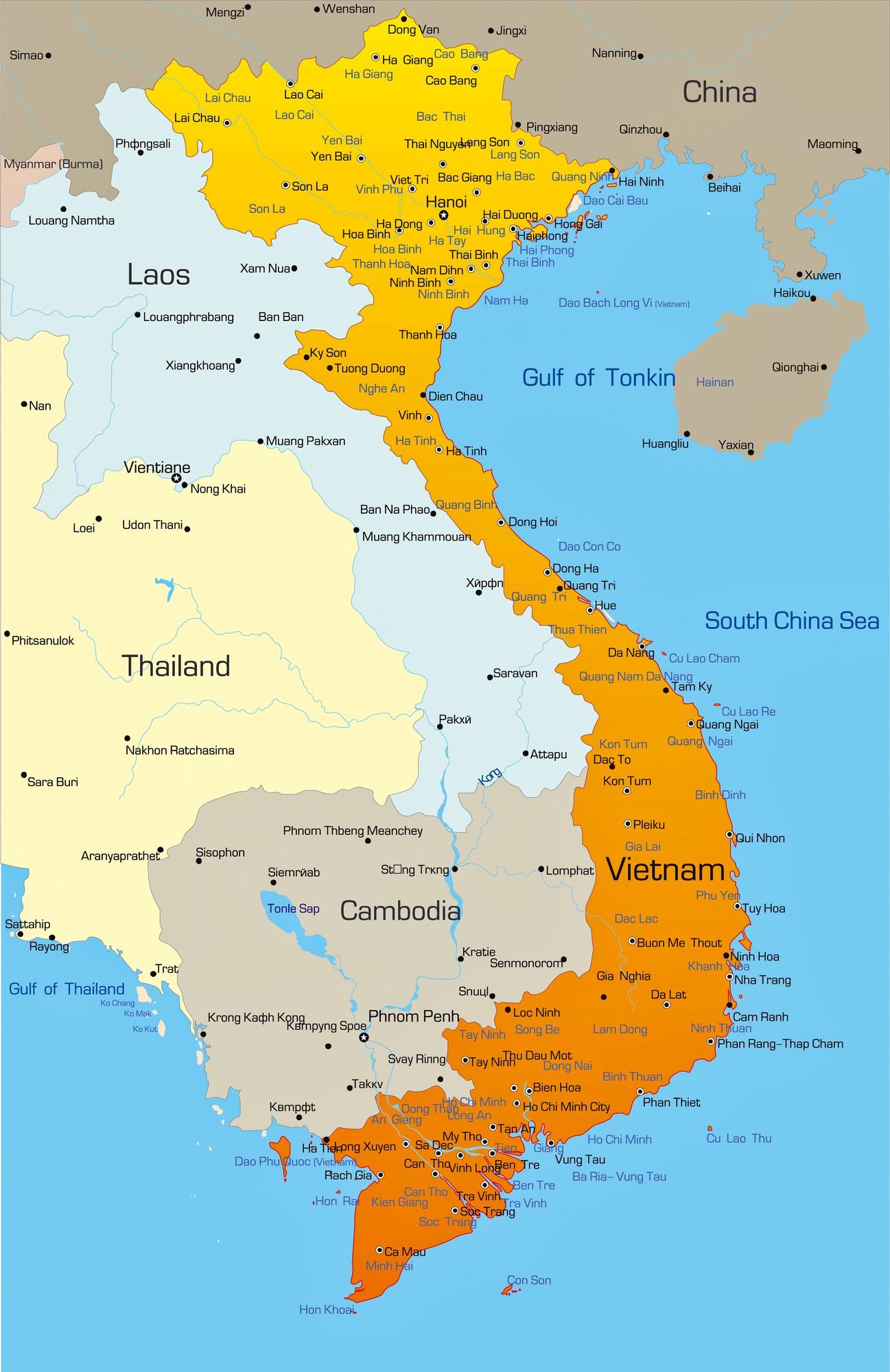 Cities map of Vietnam - OrangeSmile.com