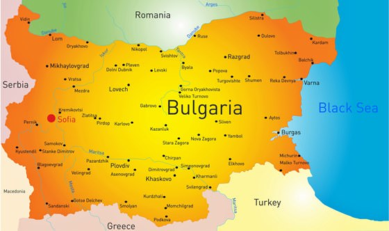 Map of cities in Bulgaria