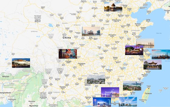 Map of cities in China