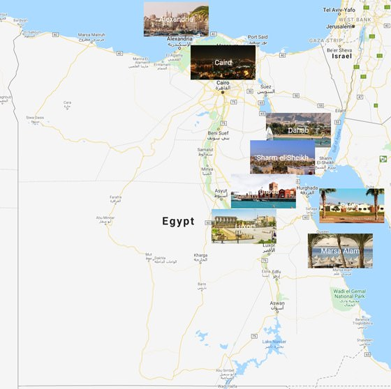 Map of cities in Egypt