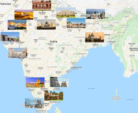 Map of cities in India