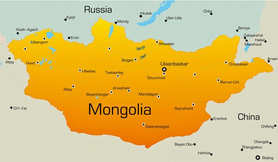 Map of cities in Mongolia