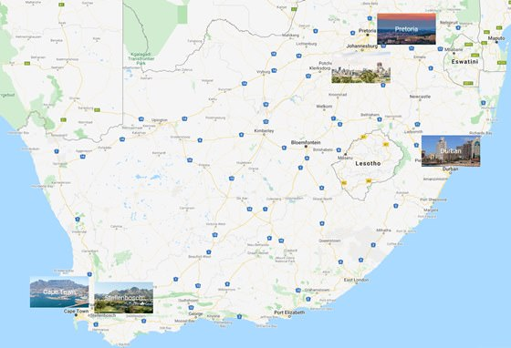 Map of cities in South Africa