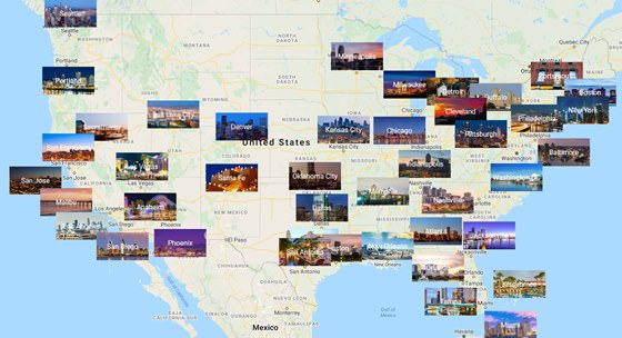 Map of cities in USA