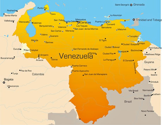 Map of cities in Venezuela