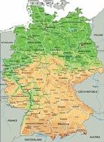 Reliefkarte von Deutschland