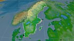 Relief map of Sweden