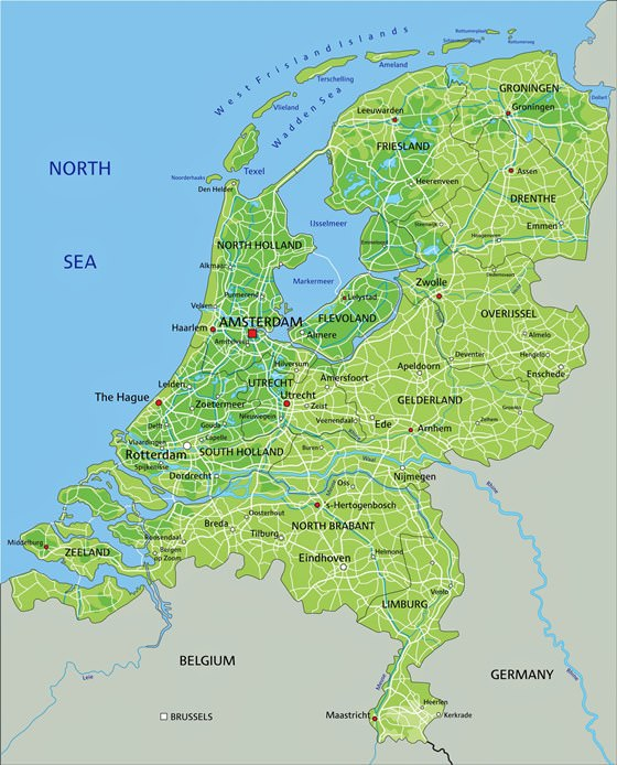 Relief map of Netherlands