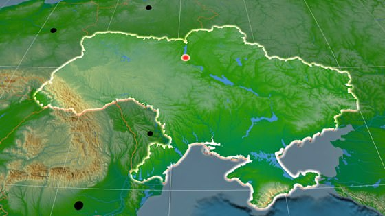 Relief map of Ukraine