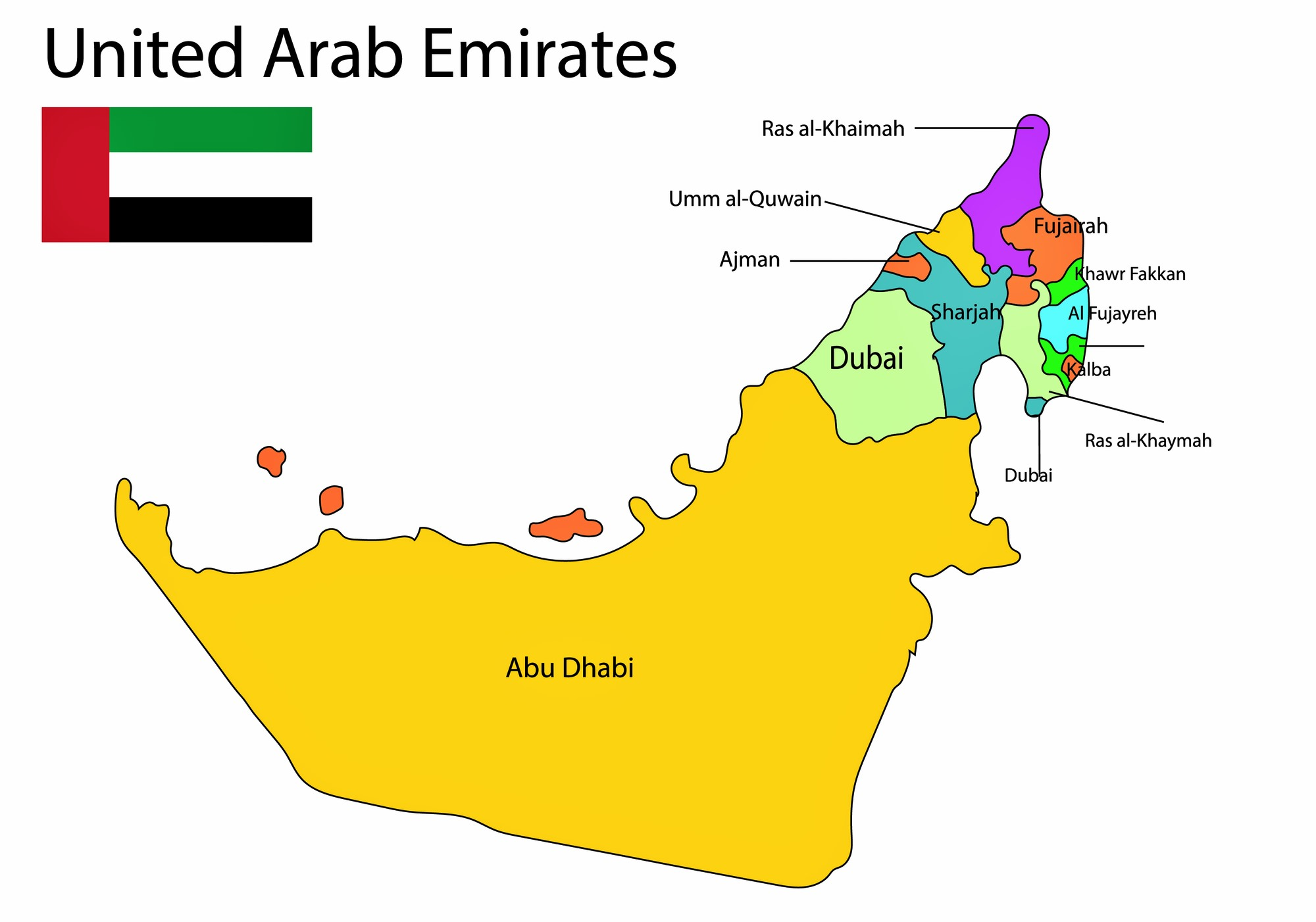 United Arab Emirates Map of Regions and Provinces ...