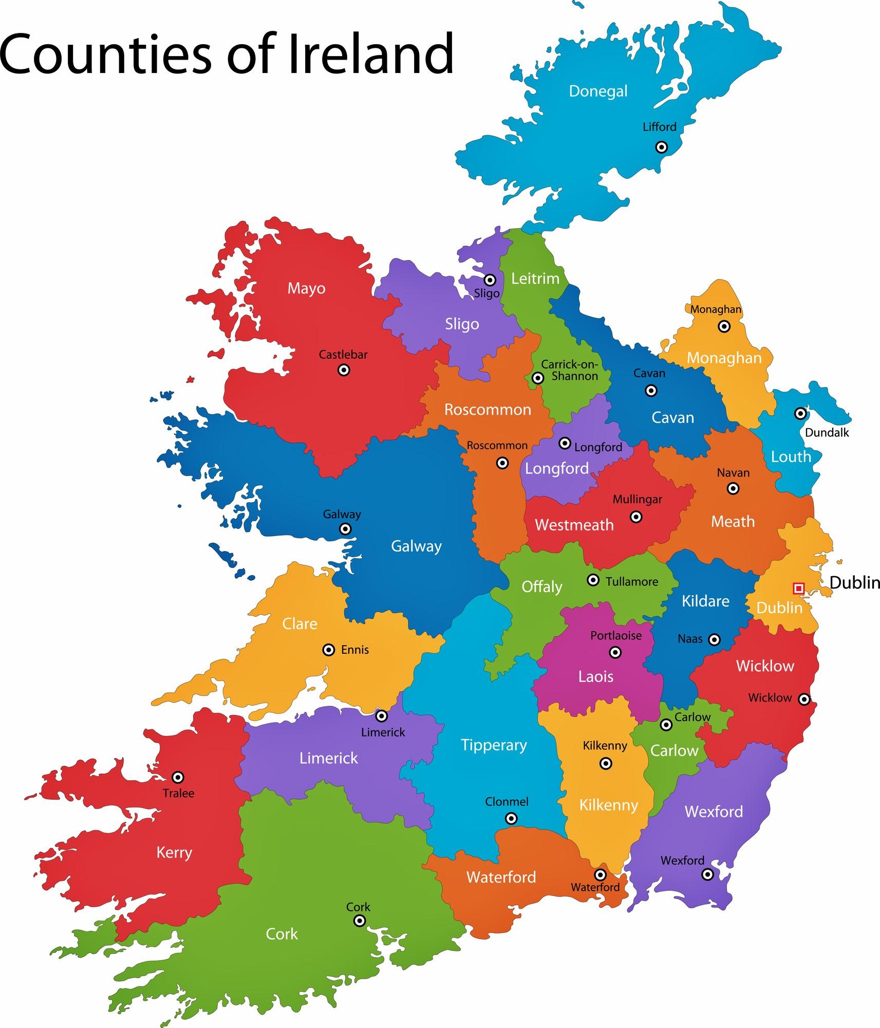 irland regionen karte Irland Karte der Regionen und Provinzen   OrangeSmile.com