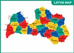 Map of regions in Latvia