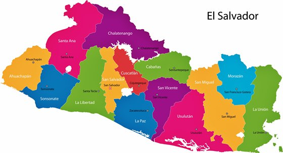 Map of regions in El Salvador