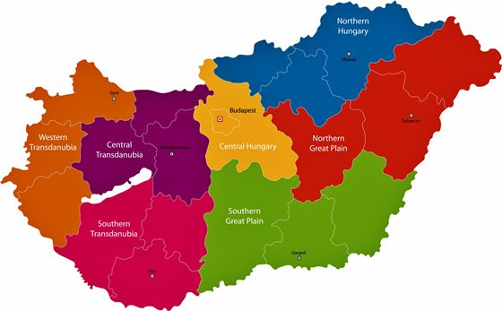 Map of regions in Hungary