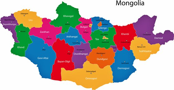 Map of regions in Mongolia