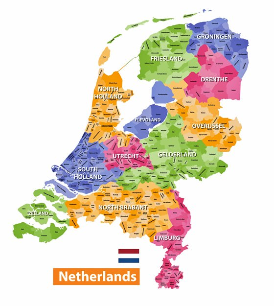 Map of regions in Netherlands