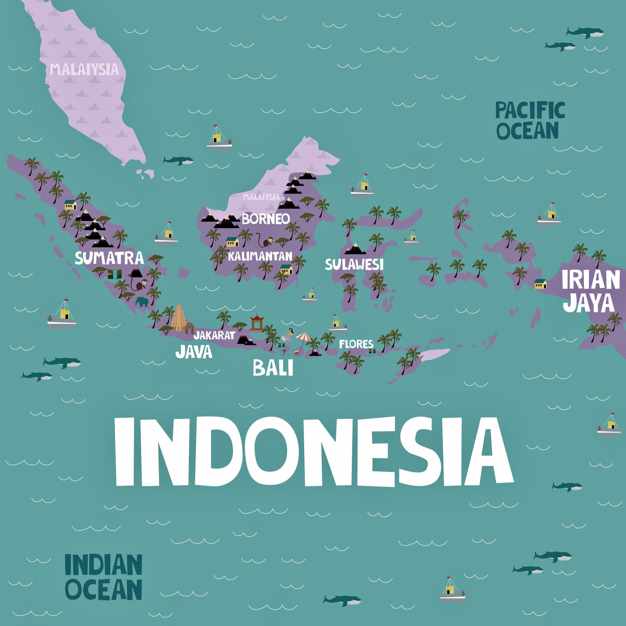 indonesien sehenswürdigkeiten karte Indonesien Karte der wichtigsten Sehenswürdigkeiten   OrangeSmile.com