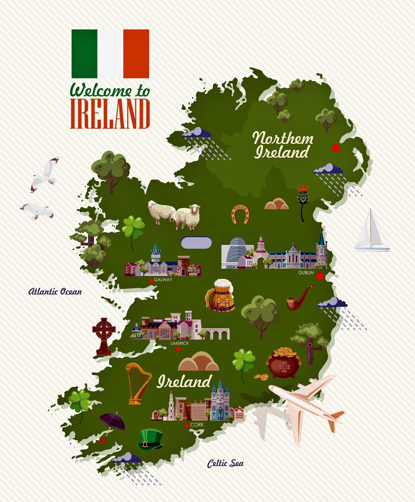 karte sehenswürdigkeiten irland Irland Karte der wichtigsten Sehenswürdigkeiten   OrangeSmile.com