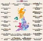 Mapa de lugares de interés en Gran Bretaña