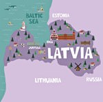 Map of sights in Latvia