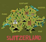 Map of sights in Switzerland