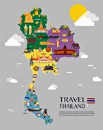 Map of sights in Thailand