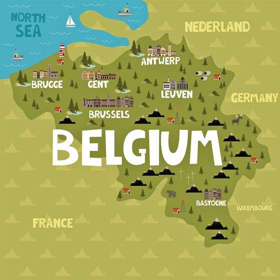 Map of sights in Belgium