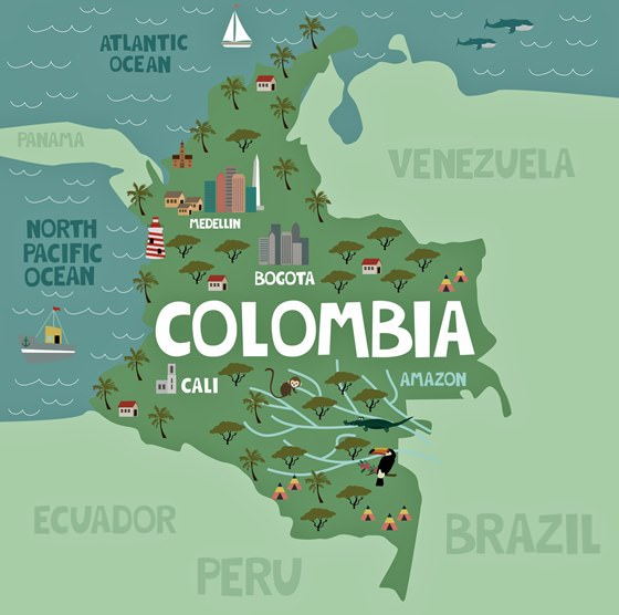 Map of sights in Colombia