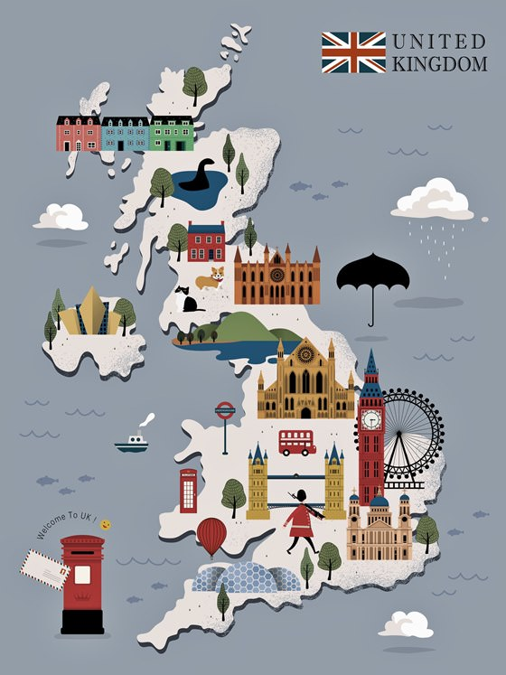Map of sights in Great Britain