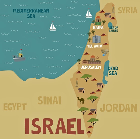 Map of sights in Israel