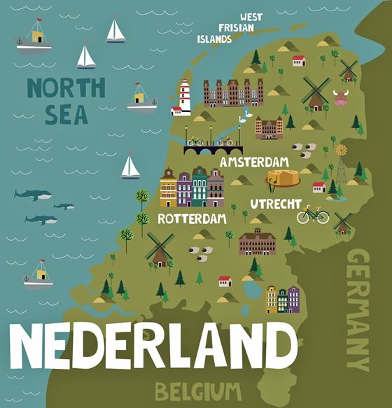 Map of sights in Netherlands