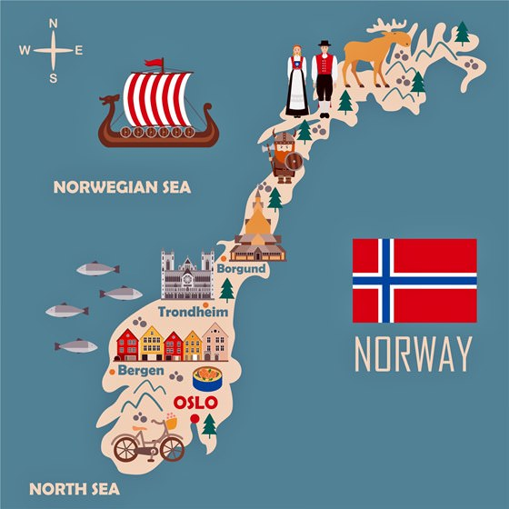 Map of sights in Norway