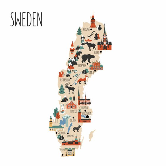 Map of sights in Sweden