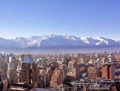 Сантьяго, Чили с высоты птичьего полета