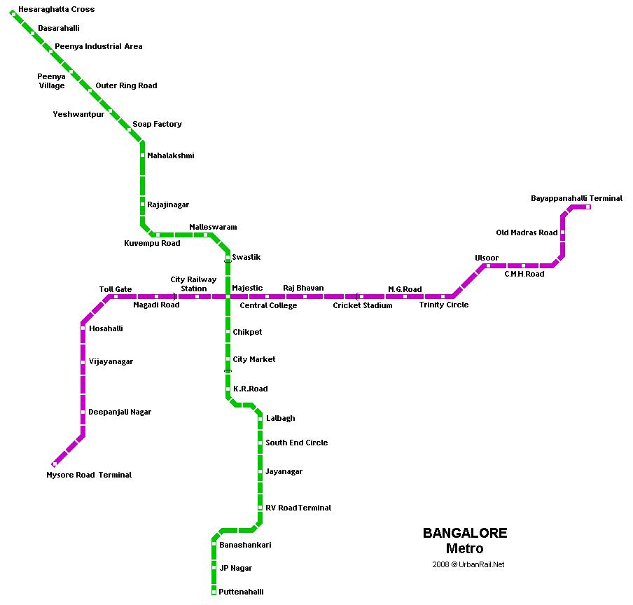 Bangalore Metro Map Bangalore Subway Map for Download   Metro in Bangalore   High