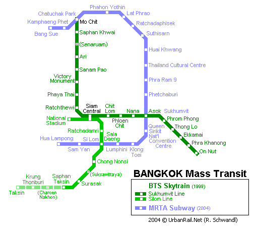 Map of metro in Bangkok