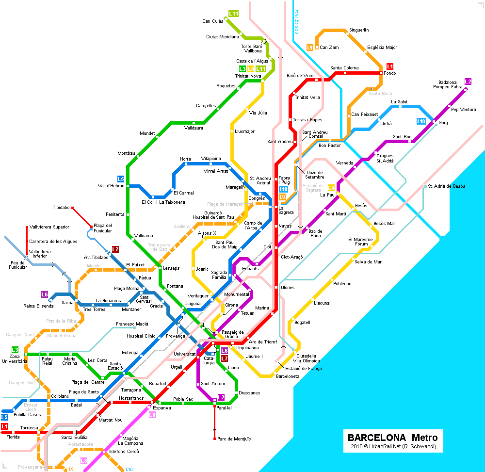 Map of metro in Barcelona
