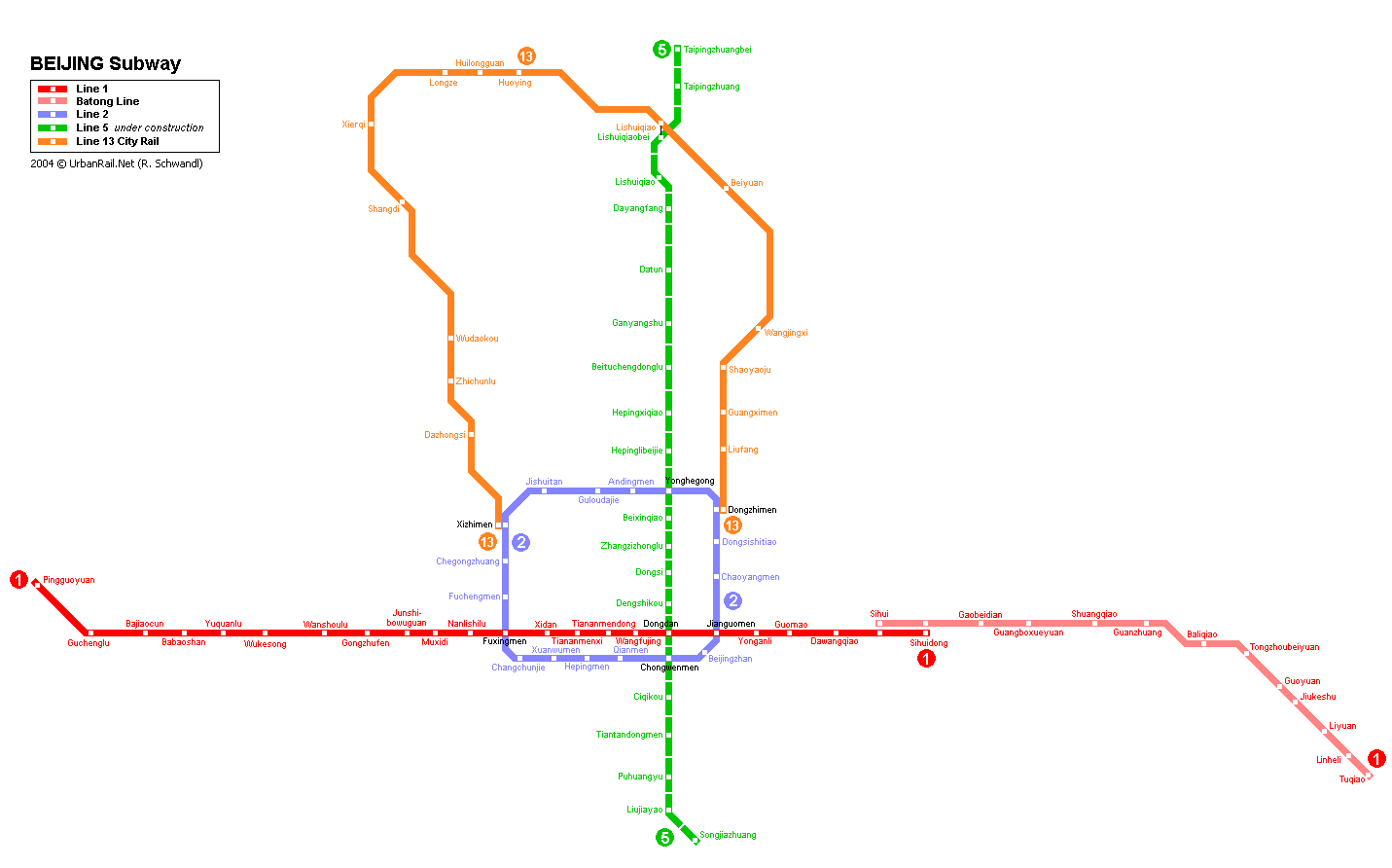 Map of metro in Beijing