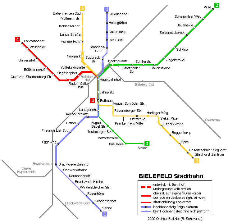 Bielefeld Subway Map for Download Metro in Bielefeld High
