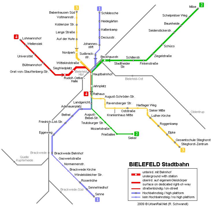 mapa del metro de Bielefeld