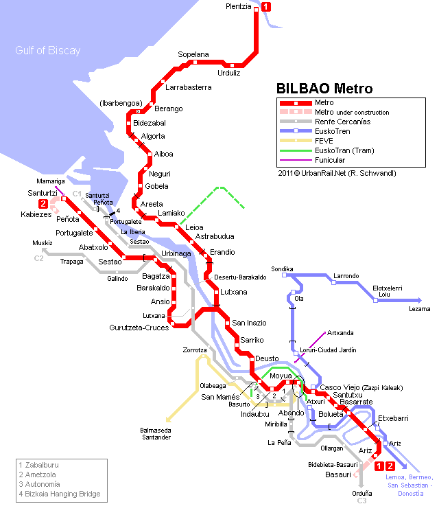 Map of metro in Bilbao