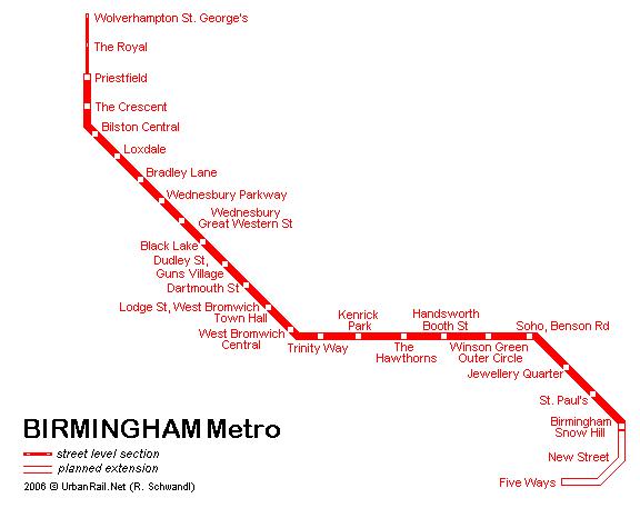 Схема метро в Бирмингеме