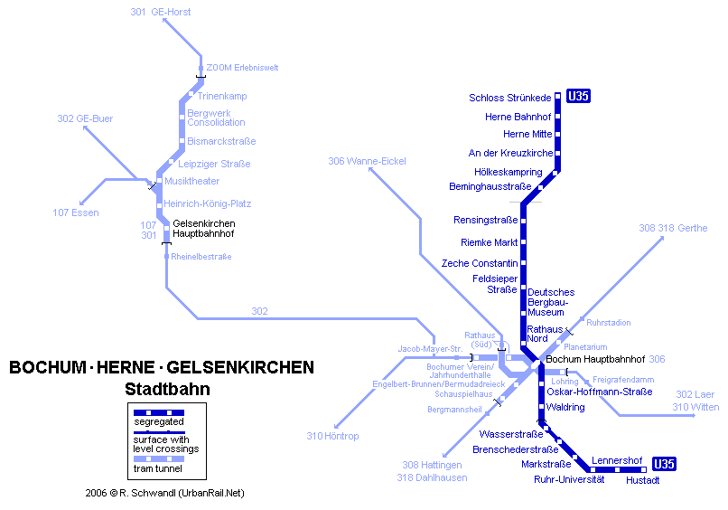 mapa del metro de Bochum