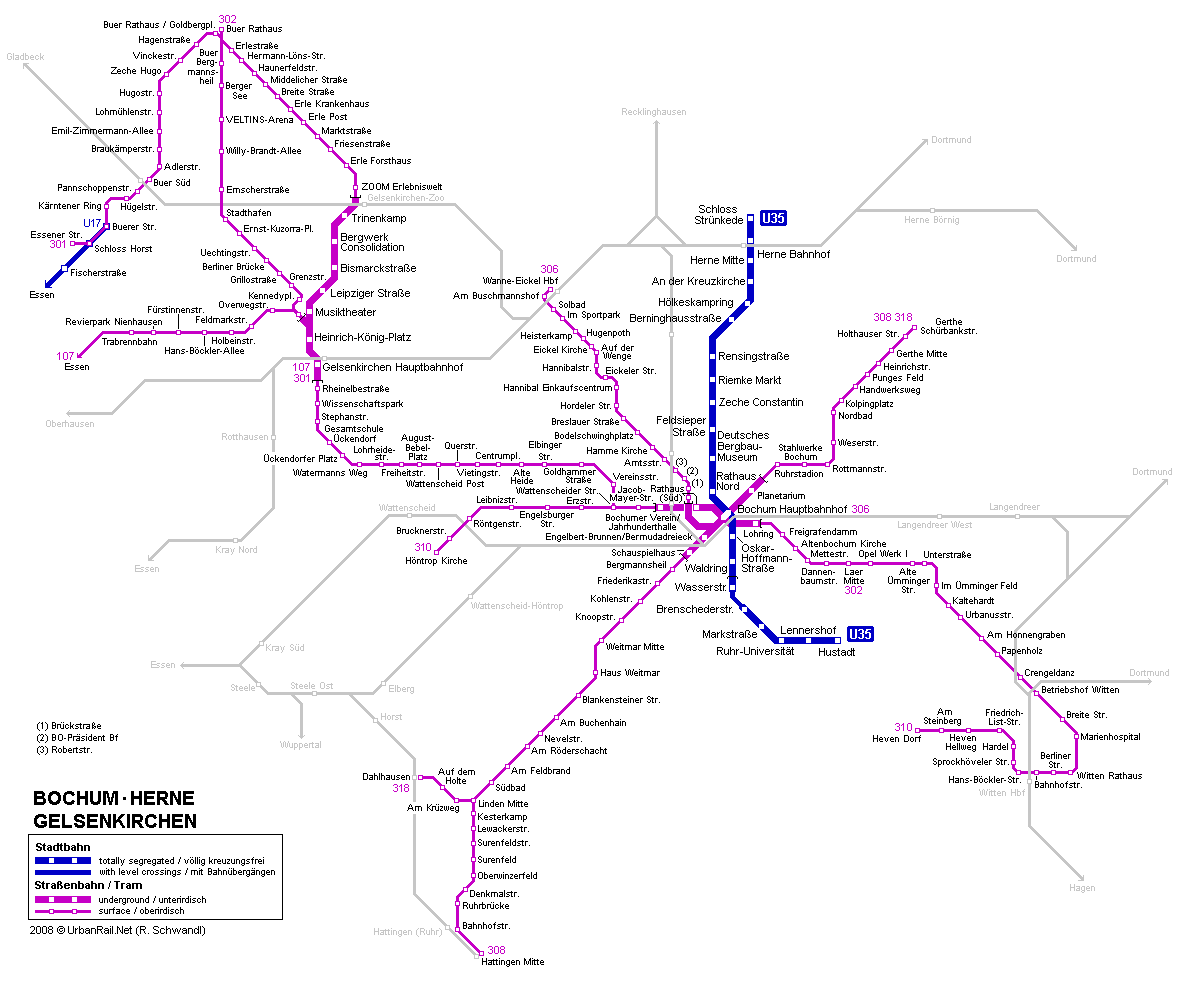 Gelsenkirchen Germany Map.Bochum Tram Map For Free Download Map Of Bochum Tramway Network