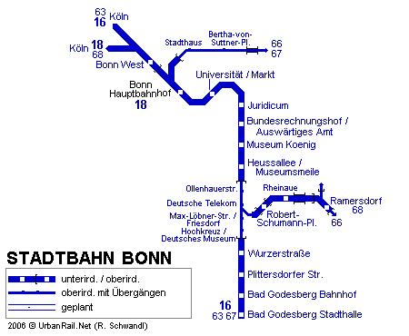 mapa del metro de Bonn