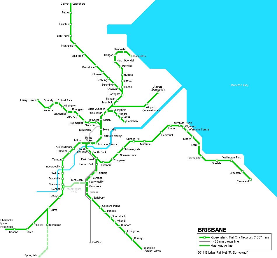 Map of metro in Brisbane