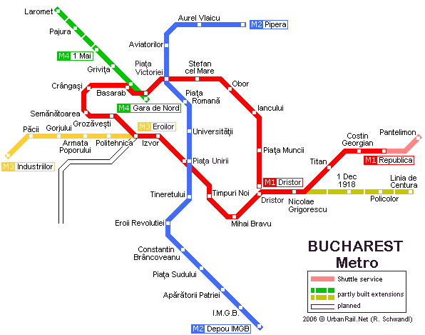 Map of metro in Bucharest