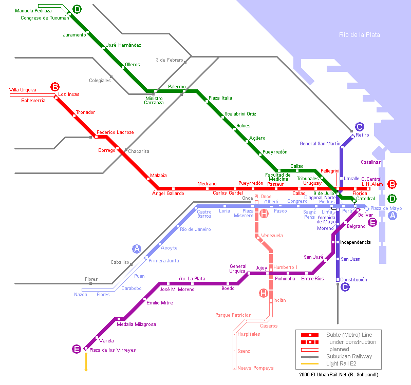 Map of metro in Buenos Aires