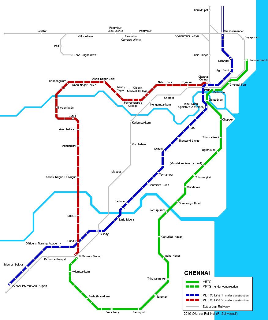 mapa del metro de Chennai