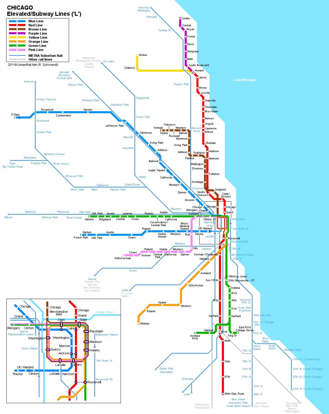 Metro Chicago Map Chicago Subway Map for Download | Metro in Chicago   High